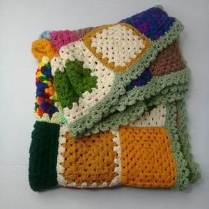 """Vintage Granny Square crocheted afghan 36.5""""x58"""""""